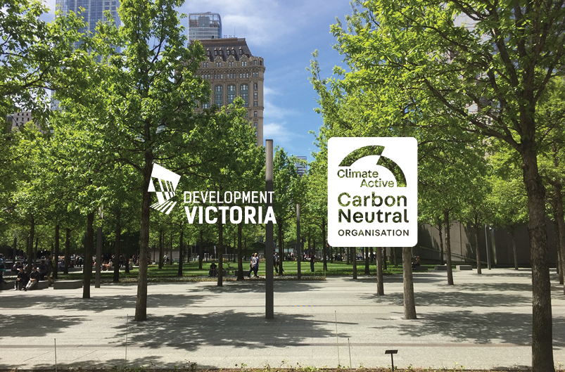 Trees image with Development Victoria and Climate Active logo