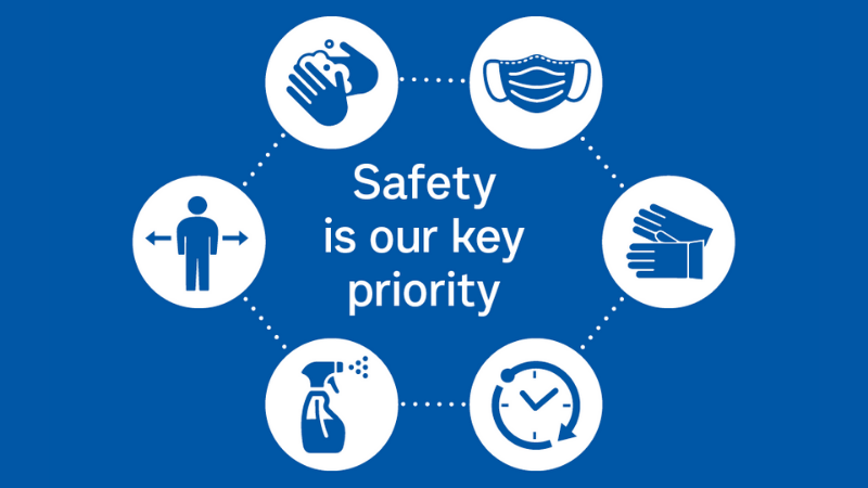 Blue image with safety icons