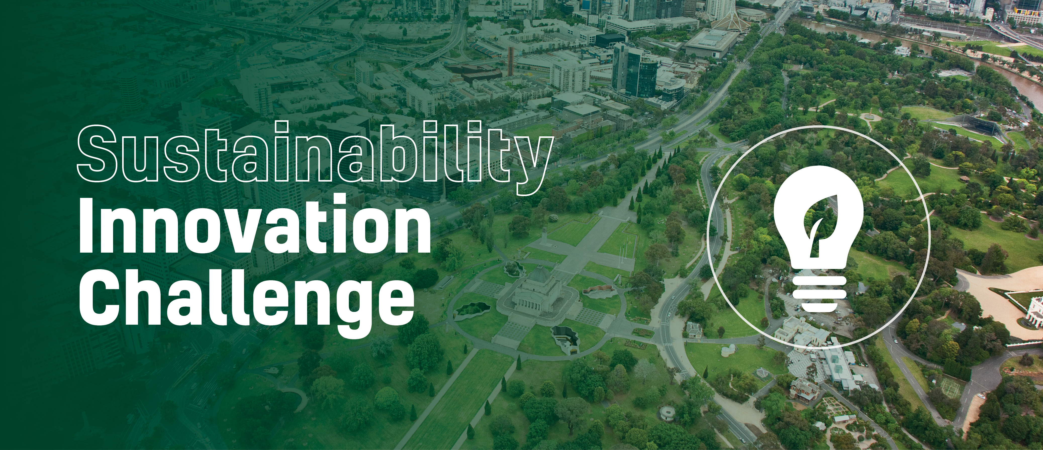 Sustainability Innovation Challenge on a green background with a leaf inside a lightbulb