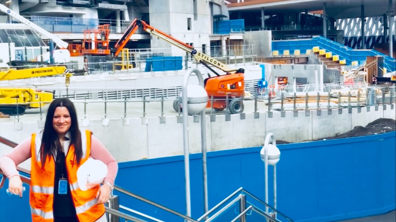 Tatiana Franco, a female engineer standing in front of Rod Laver Arena
