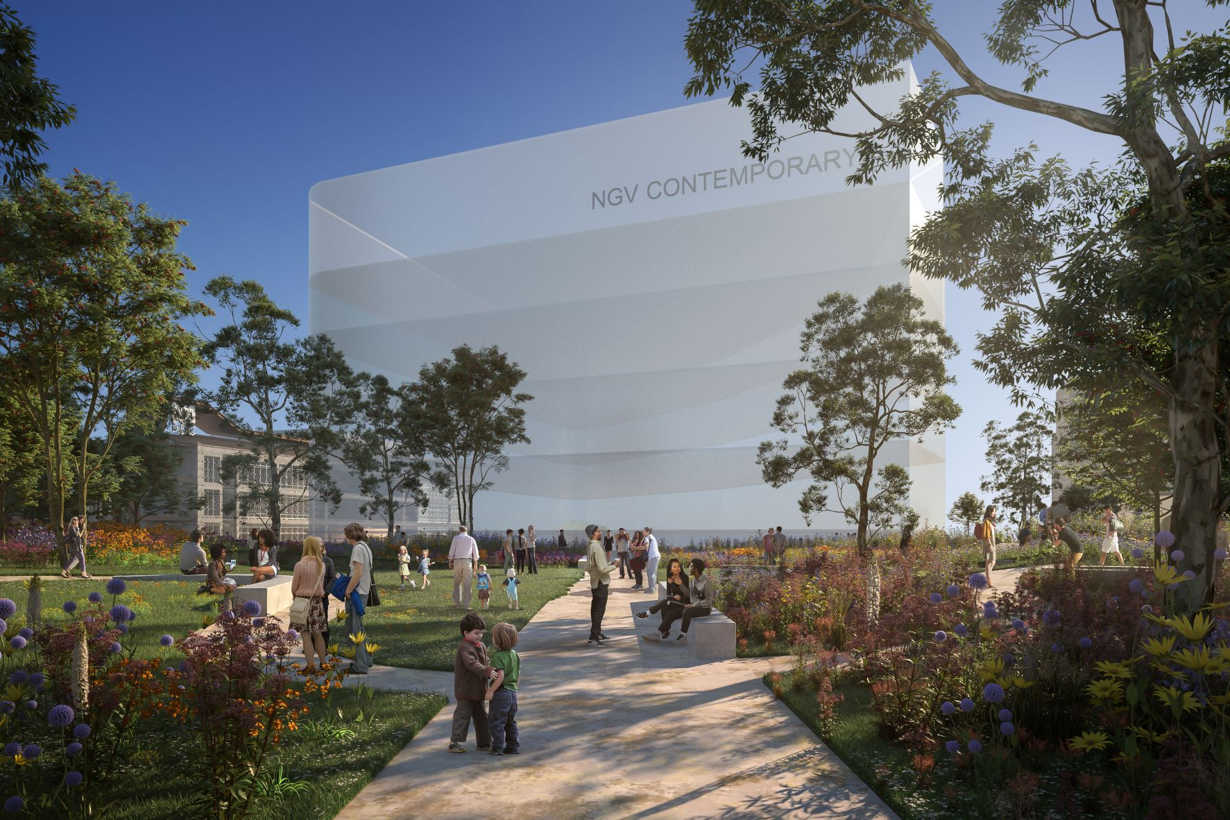 An artist impression of the NGV Contemporary building in white with trees and people around it