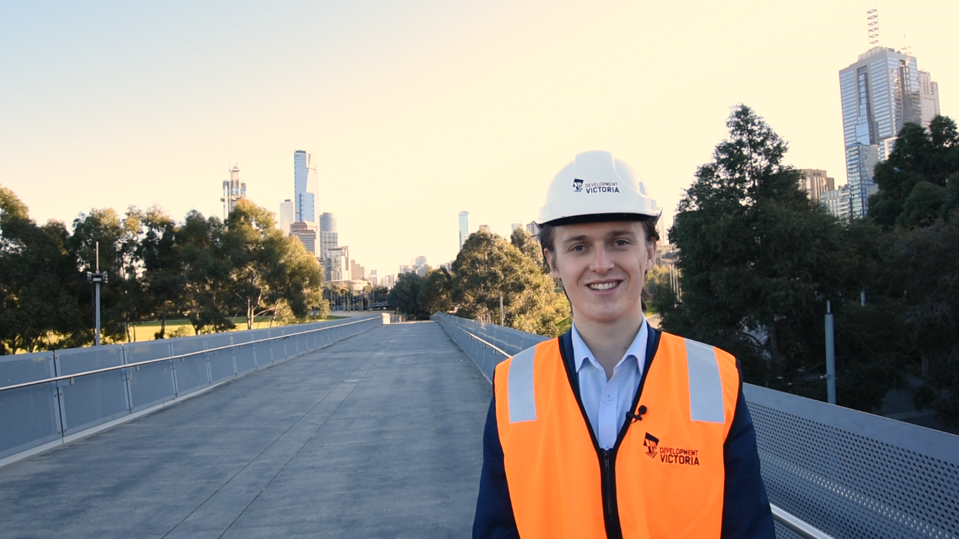Marcus, young male in a Development Victoria jacket and hard hat