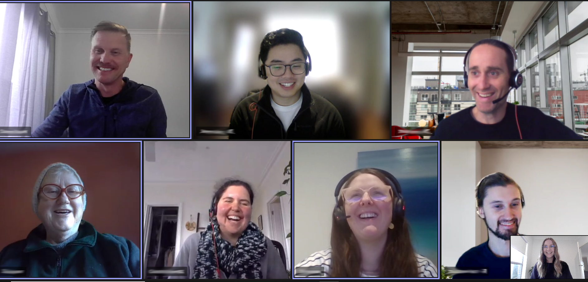 eight sustainability taskforce members, four men, four women laughing on a microsoft teams meeting