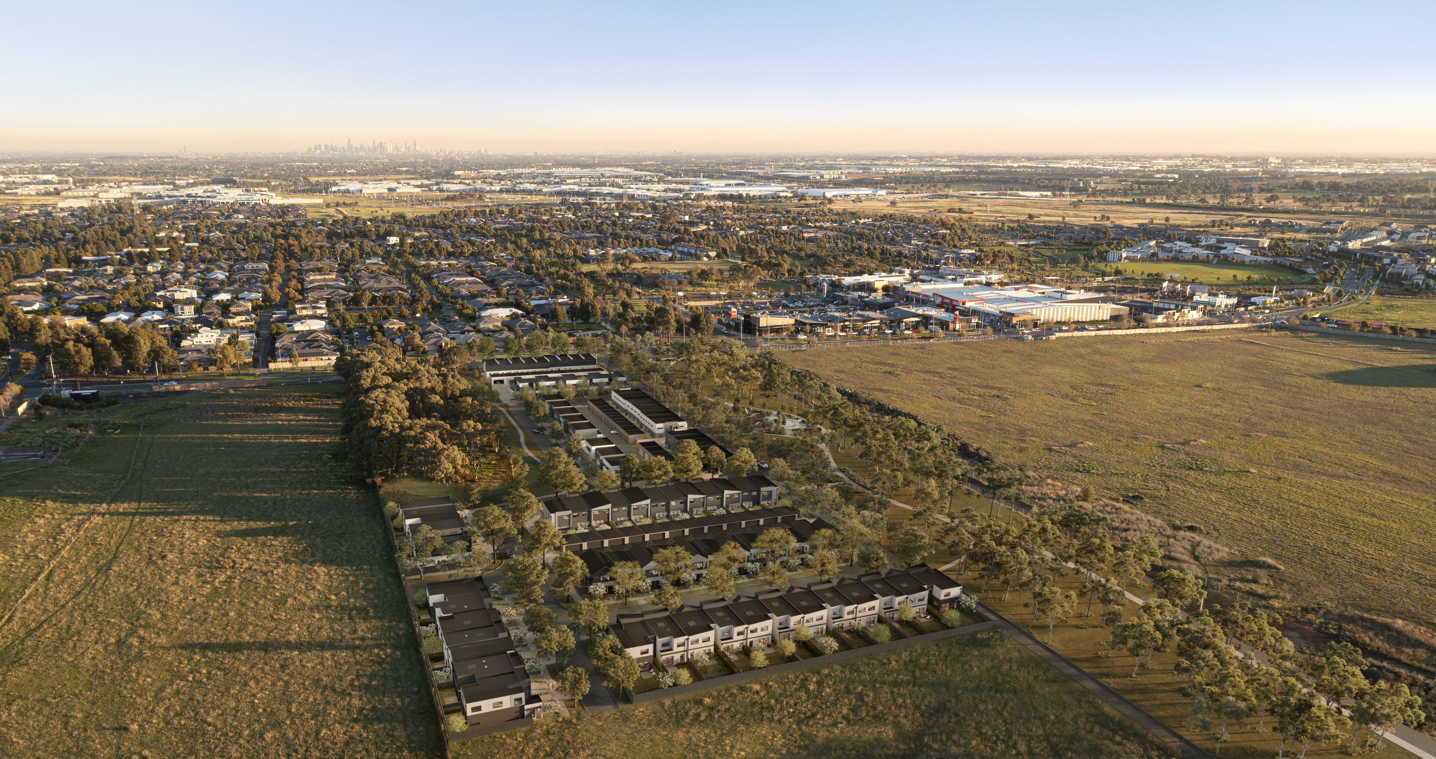 Aerial view artist impression of houses at the habitas aurora site in Wollert